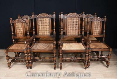 Set 8 French Oak Dining Chairs Hunting Style Farmhouse