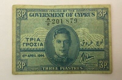 Cyprus 3 Piastres  Banknote 1944 P28a  King George VI VF