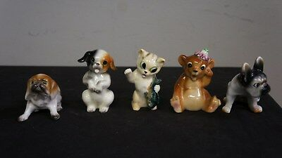 Lot of 5 Vintage Japan Ceramic Miniature Hand Painted 3 Dogs 1 Cat 1 Bear