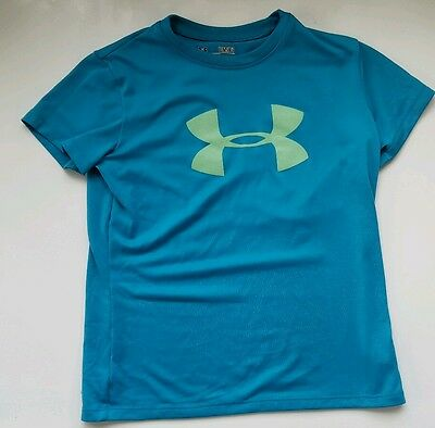 Under Armour Youth Small Short Sleeve T Shirt Heat Gear Turquoise Green EUC