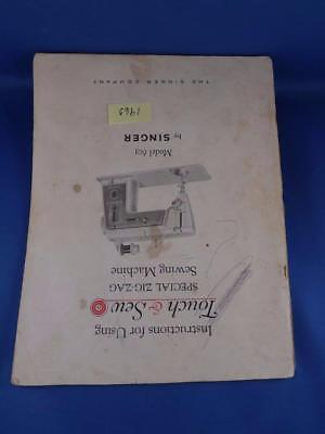 Singer Sewing Machine Instruction Manual Touch & Sew Model 603 Zig Zag 1963