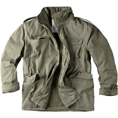 2be7982f26e6 Surplus Paratrooper Winter Mens Jacket M65 Army Military Field Coat Olive  Washed