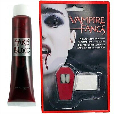 White Vampire Fangs Teeth Caps & Fake Blood Fancy Dress White Dracula Halloween