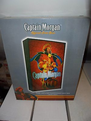"Captain Morgan Fluorescent Light SIGN 13.5 x 18.5"" In Original Box Spiced Rum"