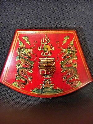vintage Chinese Red Lacquer hand painted Writing box/dragons Porcelain pot/stone