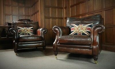 PAIR of VICTORIAN STYLE HAND DYED CIGAR CONKER BROWN LEATHER CLUB ARMCHAIRS
