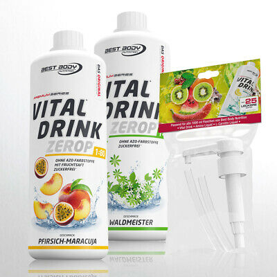 11,00€ /Ltr. Best Body Low Carb Vital Drink  2 Flaschen Getränkesirup + 1 Pumpe