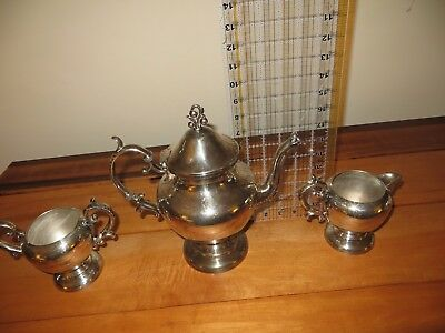 Birmingham Silver Company Teapot Creamer Sugar Bowl Set Silverplate over Copper