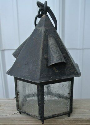 Gothic Tudor Arts & Crafts Witch's Hat Paneled Glass Cottage Porch Light Hanging