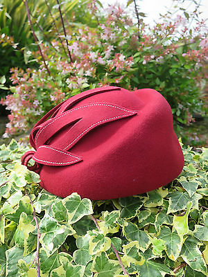 Vintage Style 1940's 1960's Red 100% Wool Felt Hat With Top Stitch Petal Trim
