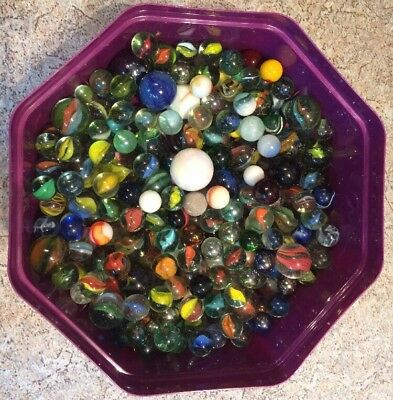 LOT QUANTITY ASSORTED MODERN EARLY & VINTAGE GLASS MARBLES 1.8kg