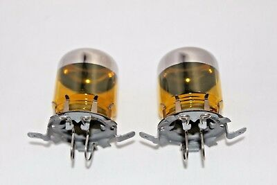 Mercedes-Benz OEM W126 W124 W201 YELLOW CHROME FOG LIGHT BULB COVERS (PAIR)