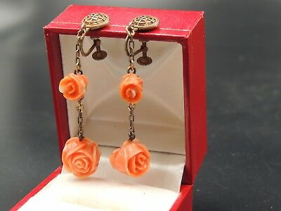 Antique Hand Carved Coral Rose Two Roses Dangling Victorian Earrings Gold Wash