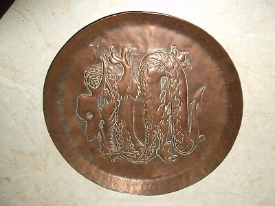 Arts & Crafts Small Newlyn Style Copper Tray - Hand Beaten With Dragon Design