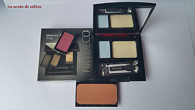 trio beauty box  ARTDECO  blush n°02 / SHIMMER CREAM 3 /FARD 75 et  95