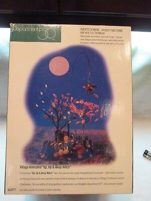 Dept 56 Snow Village Halloween Up Up & Away Witch 52711 Retired  Animated Witch