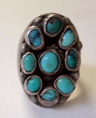Silver Turquoise Large Native American  Style Ring    - 313D