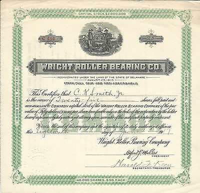PENNSYLVANIA Wright Roller Bearing Co Stock Certificate 1917 Early Automobiles