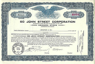 NEW YORK CITY, 80 John Street Corporation Stock Certificate 1943