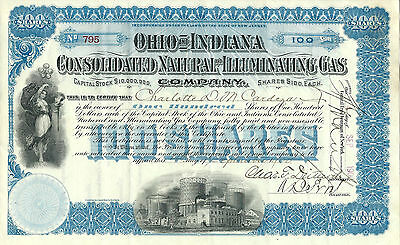 1900 Ohio & Indiana Consolidated Natural & Illuminating Gas Stock Certificate