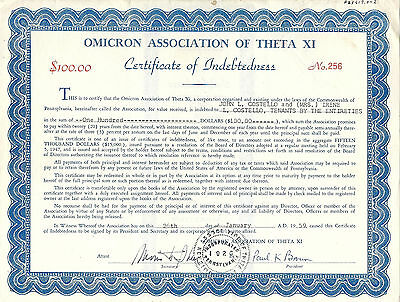 PENNSYLVANIA 1959, Omicron Association of Theta XI Stock Certificate