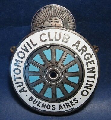 Rare FIRST 1910's ACA Argentine Automobile Club Enameled Silver Plated Car Badge