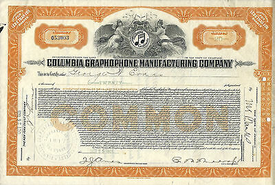 DELAWARE 1921, Columbia Graphophone Manufacturing Co Stock Certificate