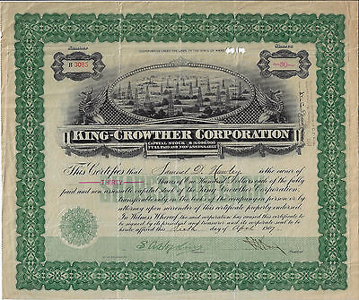 TEXAS 1907, King Crowther Corporation Stock Certificate
