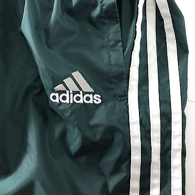 VTG Adidas Track Pants 3 Stripe XXL Green Nylon Lined Zip Ankle Embroidered Logo