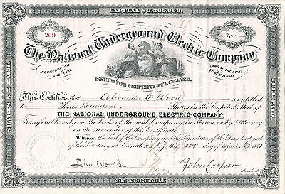 NEW JERSEY 1881, National Underground Electric Co. Stock Certificate