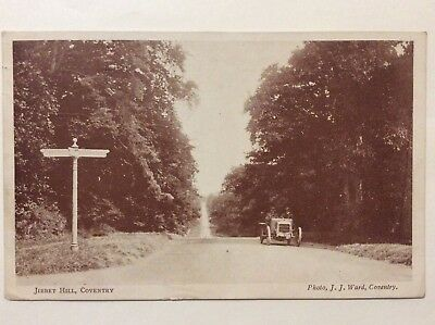 vintage postcard, Coventry, Jibbet Hill, early car, JJ Ward