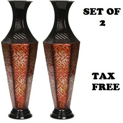 2 Set Metal Vase New Tall Floor Decor Decorative Large Home Flower