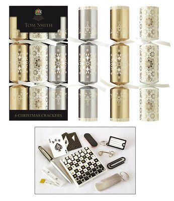 Tom Smith Christmas Crackers- 6 x 12'' Gold & White Cube Crackers