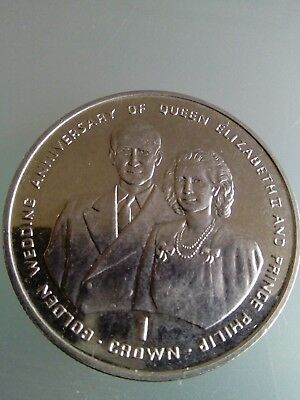 1997 Gibraltar 1 Crown Golden Wedding Anniversary Queen Philip