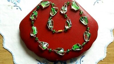 Czech Bi Coloured Green And Clear Glass Bead Necklace Vintage Deco Style