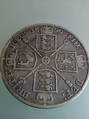 1890 Double Florin 4 Shillings Silver