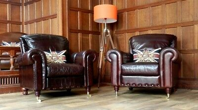 PAIR of VICTORIAN STYLE HAND ANTIQUED CIGAR CONKER BROWN LEATHER CLUB ARMCHAIRS