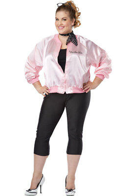 Brand New Grease The Pink Satin Ladies Plus Size Jacket Costume