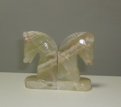 Vintage Onyx Marble Horse Head Book Ends Knight Chess Equestrian equine