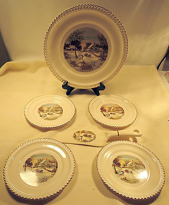 "Harkerware Currier & Ives ""The Homestead in Winter"" Cake Set w/22 Kt. Gold Trim"