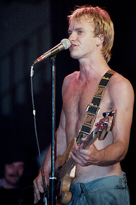 """12""""*8"""" concert photo of Sting of The Police playing at Liverpool in 1979"""