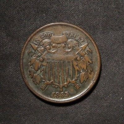 1865 Two Cent 2¢ Coin- XF