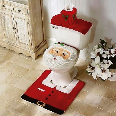 3Pc Santa Toilet Seat Cover Set Bathroom Rug Christmas Decorations Present Fun