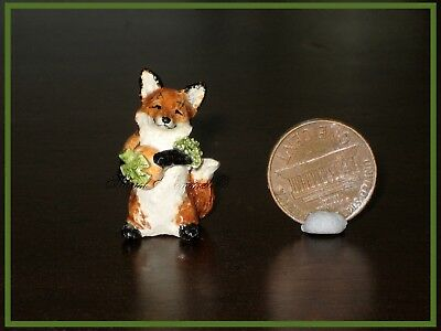 "SUSAN KIMMEL ORIGINAL MINIATURE FOX SCULPTURE ~ ""The Pumpkin Hunt""  *OOAK*"