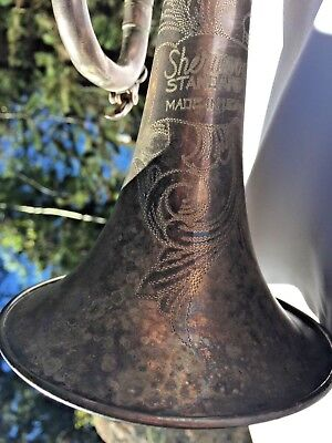Vtg Sherwood Standard Trumpet Mother of Pearl Brass Bach 7C Patina Collectible