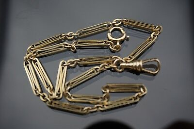 Antique gold filled pocket watch chain/fob with long links