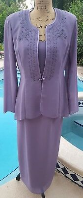 R & M Richards by Karen Kwong Size 8 Purple Jacketed Formal Sl/less Long Dress