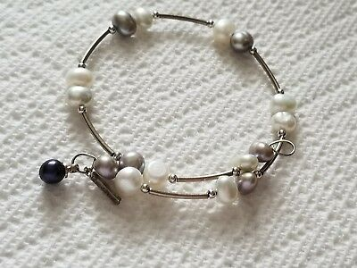 Beautiful Vantel Pearls Shades of Gray Wire Wrap new
