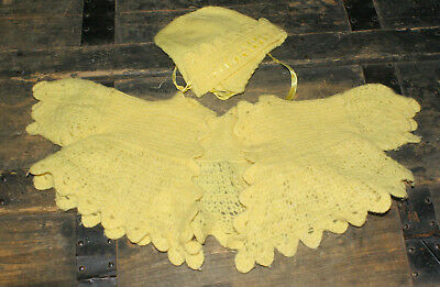 Vintage Handmade Knit Yellow Infant Sweater & Hat