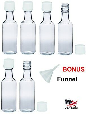Mini empty plastic alcohol liquor bottles shots 50ml white caps funnel